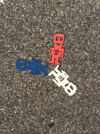 We saw these robot stencils all over Philadelphia and Boston